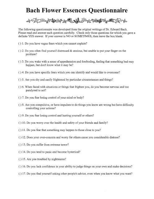 Bach Flower Essences Questionnaire - Angie Evans