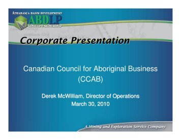 Corporate Presentation - Canadian Council for Aboriginal Business