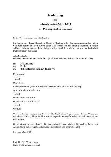 Einladung Absolventenfeier 2013 - Philosophisches Seminar