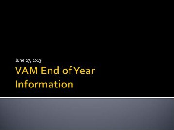 VAM End of Year Information PowerPoint