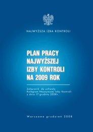 Plan pracy Najwyższej Izby Kontroli na 2009 rok (plik PDF, 249 KB)