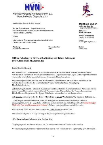 Handballkreis Diepholz eV- Matthias Müller Offene Schulungen für ...