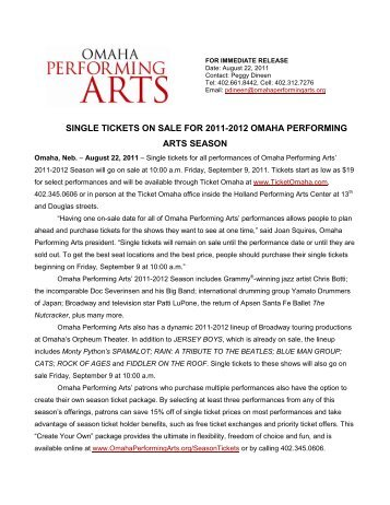 single tickets on sale for 2011-2012 omaha performing arts season