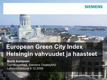 European Green City Index Helsingin vahvuudet ja ... - Siemens