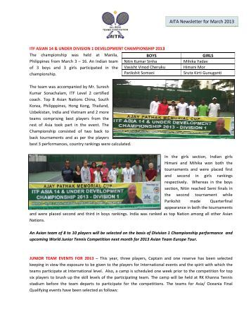 AITA New wsletter for M March 2013 - India Tennis Association