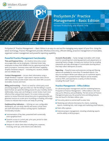 ProSystem fx® Practice Management – Basic Edition - CCH