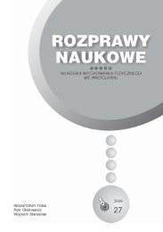 Rozprawy Naukowe AWF.p65 - Akademia Wychowania Fizycznego ...