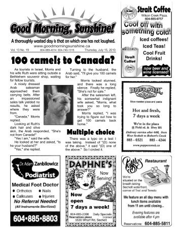 100 camels to Canada? - Good Morning Sunshine.ca
