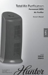 Permanent HEPA Air Purifier - Hunter Fan