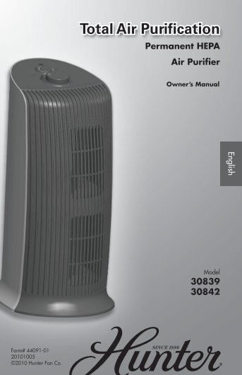 Permanent HEPA Air Purifier - Hunter Fan