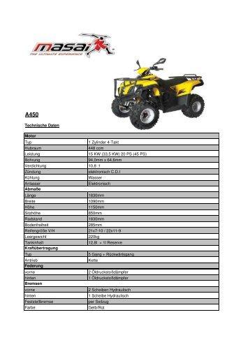 Technische Daten Motor Typ 1 Zylinder 4-Takt Hubraum 448 ccm ...