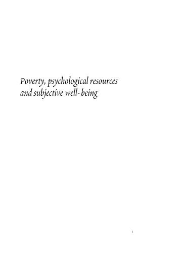 Poverty, psychological resources and subjective well-being