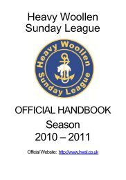 Heavy Woollen Sunday League Season 2010 – 2011 - The Football ...