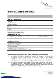 Solicitud de Domiciliación Bancaria - Copac