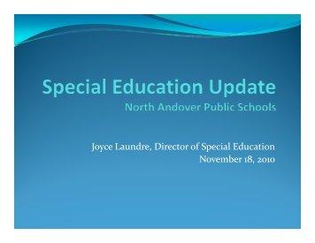Status Report on Special Education - North Andover Public Schools