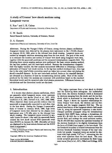 bow shock motions using Langmuir waves - Radio and Plasma ...