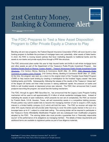 The FDIC Prepares to Test a New Asset - Fried Frank