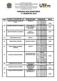 pr horario dos monitores 1º semestre 2013 ord aluno (a ... - UTFPR