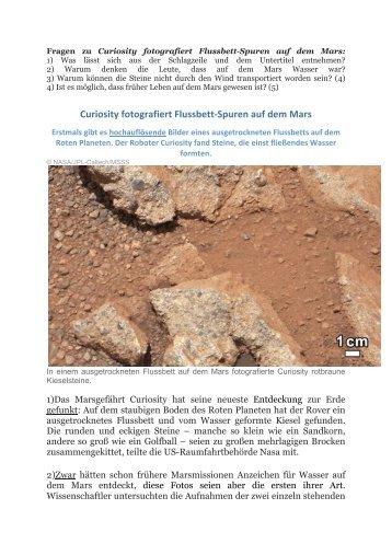 Curiosity fotografiert Flussbett‐Spuren auf dem Mars