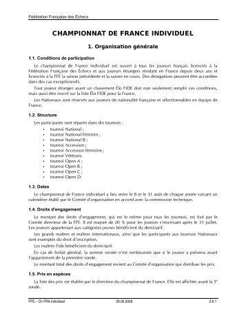 Règlement des championnats de France Individuels - Fédération ...