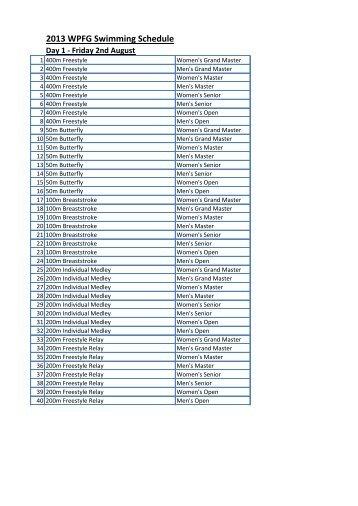 2013 WPFG Swimming Schedule