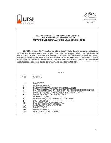 EDITAL DO PREGÃO PRESENCIAL Nº 005/2012 ... - UFSJ