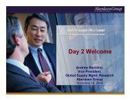 Day 2 Welcome - Summit - Aberdeen Group