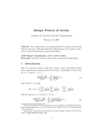 Integer Powers of Arcsin - CiteSeerX