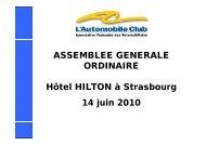ASSEMBLEE GENERALE ORDINAIRE Hôtel HILTON à Strasbourg ...