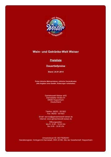 Preisliste für Dauertiefpreise - und Getränke-Welt Weiser