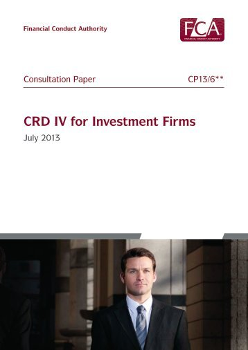 CP13/6 - CRD IV for Investment Firms - Financial Conduct Authority