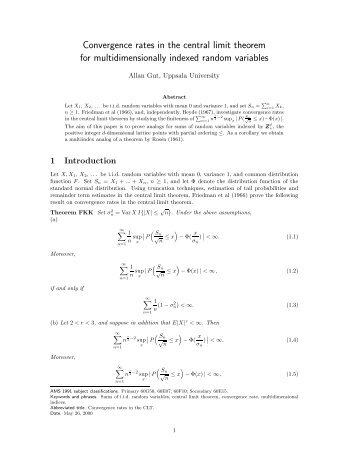 Convergence rates in the central limit theorem for ...