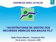 as estruturas de gestão dos recursos hídricos nas bacias pcj - INBO