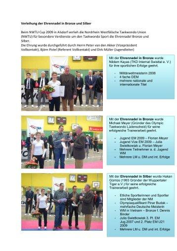 Verleihung der Ehrennadel in Bronze und Silber Beim NWTU Cup ...
