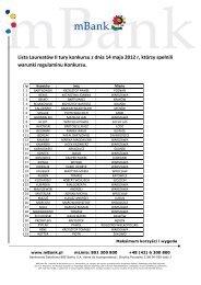 Lista Laureatów II tury konkursu z dnia 14 maja 2012 r ... - mBank