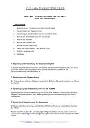 Protokoll (pdf) - PMCA – Pharma Marketing Club Austria