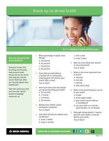 Brush up on dental health - Delta Dental Insurance