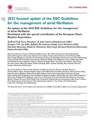 Focused update Guidelines Atrial Fibrillation 2012 - Iqanda-cme.com