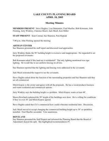 LAKE COUNTY PLANNING BOARD APRIL 18, 2005 Meeting Minutes