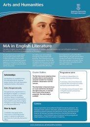 MA in English Literature 2012 - Swansea University