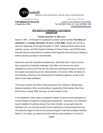 FOR IMMEDIATE RELEASE Contact: Anne Wrinkle, Press Office 2 ...