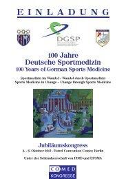 100 Jahre Deutsche Sportmedizin - Einladung der DGSP