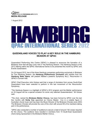 queensland voices to play a key role in the hamburg ... - aappac