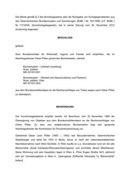 Der Beirat Gemããÿ â 3 Des Bundesgesetzes ã¼ber Die Rã¼ckgabe Von