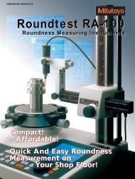 Roundtest RA-100 Roundtest RA-100 - Mitutoyo America Corporation
