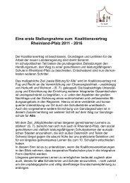 erste Stellungnahme zum Koalitionsvertrag - EINE Schule für ALLE