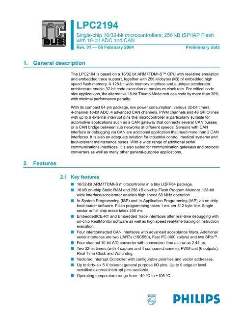 LPC2194 Single-chip 16/32-bit microcontrollers