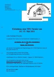 Einladung zum THS-Turnier am 14./ 15. Mai 2011