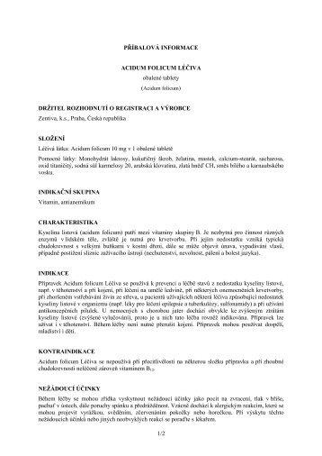 1/2 PŘÍBALOVÁ INFORMACE ACIDUM FOLICUM LÉČIVA ... - Zentiva
