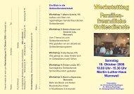 Werkstatttag Familien- freundliche Gottesdienste Samstag 18. Oktober